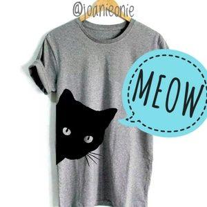 Tops - Peekaboo Black Cat T-shirt Grey